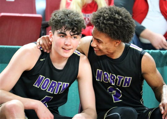 North Kitsap's Kobe McMillian (right) and Jonas La Tour (left) were selected to the Associated Press Class 2A all-state boys basketball team on Wednesday.