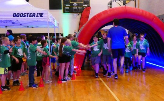 Hannah Crawford Elementary School students participate in the PTO's annual fun run on Friday.