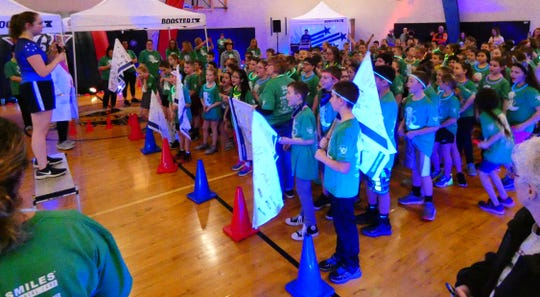 Hannah Crawford Elementary School third- and fourth-graders prepare to participate in the PTO's annual fun run on Friday.