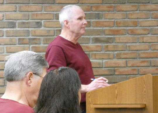 Port Bucyrus-Crawford County Airport manager Kevin Detray speaks during a meeting of Bucyrus City Council's finance committee on Thursday.