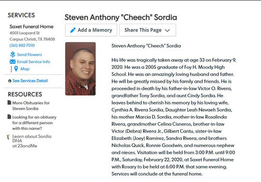 Steven Anthony Sordia, 33, was found shot to death outside a Corpus Christi apartment complex on Feb. 9, 2020.