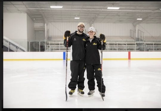 Rowan University women's ice hockey coaches Dan DiMonte (left) and fiancee Dillan Madara (right). Both are South Jersey natives and Rowan grads. DiMonte, a Cherokee graduate, is the assistant coach and Madara, an Eastern High grad, the head coach.