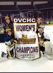 Members of Rowan University's women's ice hockey team hold the banner after winning another Delaware Valley Collegiate Hockey Conference crown. The team is headed to nationals once again.  Cassie Gravelle (top left), Erin Campbell (top right), Gia Caruso (bottom left) and Emily Render (bottom right) are shown.