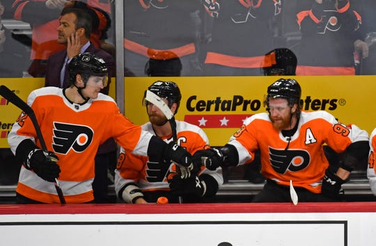 Mar 5, 2020; Philadelphia, Pennsylvania, USA; Philadelphia Flyers right wing Nicolas Aube-Kubel (62) and right wing Jakub Voracek (93) during the third period against the Carolina Hurricanes at Wells Fargo Center. Mandatory Credit: Eric Hartline-USA TODAY Sports