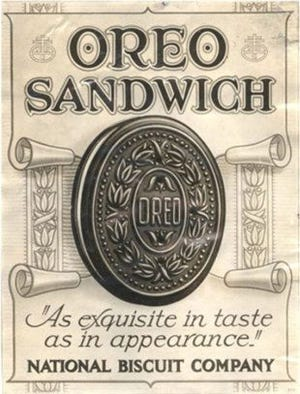 A vintage ad for Oreo Sandwich cookies by the National Biscuit Company (Nabisco).