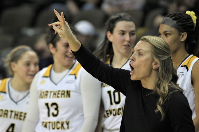 NKU head coach Camryn Whitaker signals one of her players as Northern Kentucky University women's basketball team defeated Milwaukee 78-58 in the quarterfinals of the Horizon League Tournament March 5, 2020 at BB&T Arena, Highland Heights, Ky.