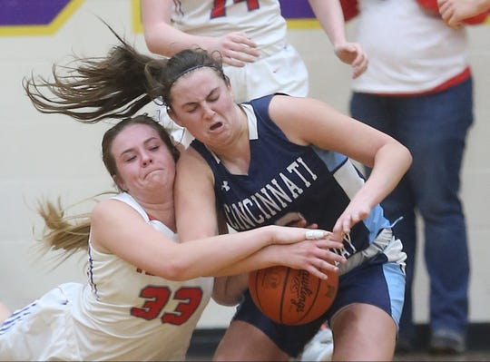 Cincinnati Country Day's Sabrina DelBello (2) battles  New Madison Tri-Village's  Maddie Downing(33) for a loose ball during their regional semifinal, Thursday, March 5, 2020.