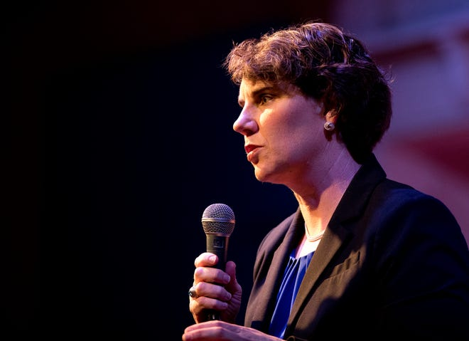 Amy McGrath, former Marine, speaks during the Democratic U.S. Senate Candidate primary forum at Southgate House Revival in Newport, Ky., on Thursday, March 5, 2020.
