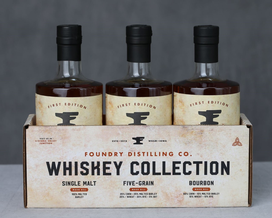 Foundry Distilling Co. in West Des Moines is releasing a new single malt whiskey, a five-grain whiskey and the brand's first bourbon.
