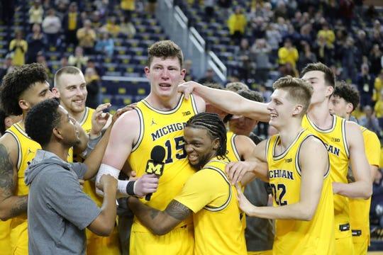 Michigan center Jon Teske (15) gets emotional speaking to fans on senior night, after the 82-58 win against Nebraska on Thursday, March 5, 2020 at the Crisler Center in Ann Arbor.