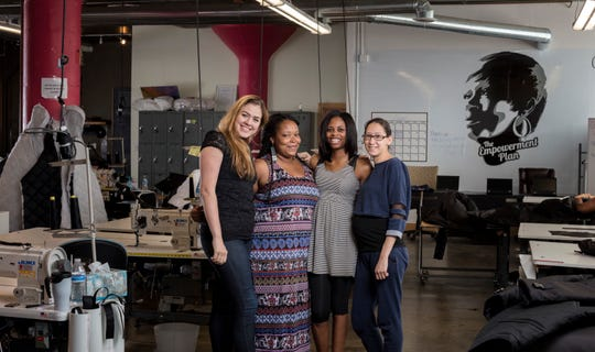 The Maker City exhibition by Michelle and Chris Gerard includes this photo of the Empowerment Plan, a Detroit non-profit addressing homelessness. Pictured left to right: founder Veronika Scott with Angel Tyler, Tela Williams and Jessica West.