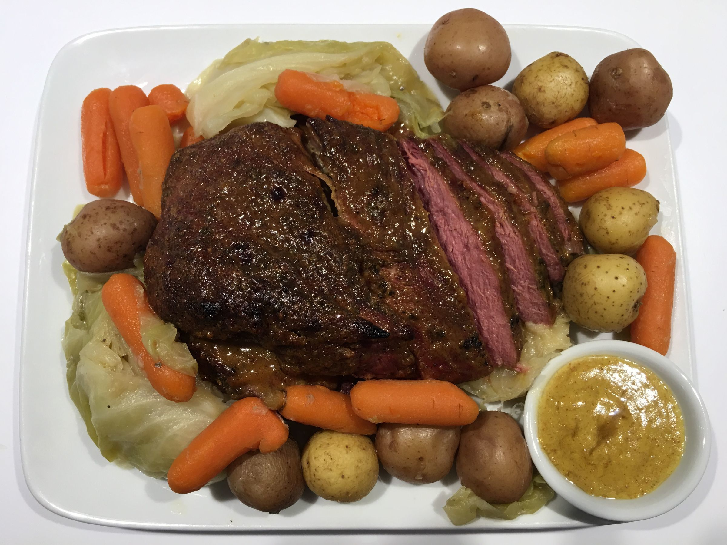 Corned Beef and Cabbage with Mustard Sauce