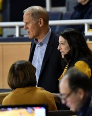 Former Michigan coach John Beilein watches the game in the first half.