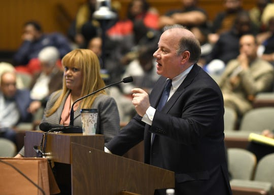 Detroit Mayor Mike Duggan addresses the city council and presents his 2020-21 budget on Friday March 6, 2020.