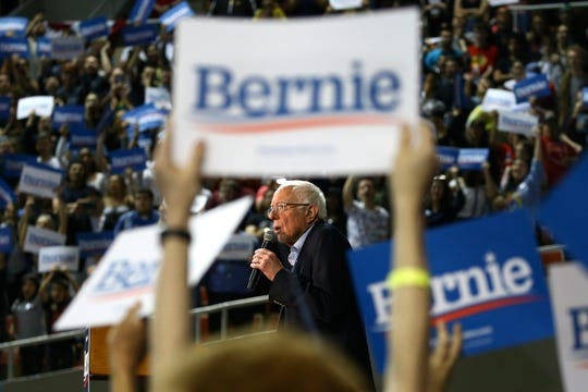 Democratic presidential candidate Sen. Bernie Sanders speaks at a campaign rally Thursday in Phoenix.