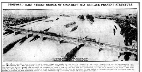The last of the old Main Street bridge fell into the Chemung River on September 26, 1921.