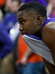 Evansville's Jawaun Newton (3) watches his team battle with the Valparaiso Crusaders in the final minute of the Missouri Valley Conference Tournament matchup at the Enterprise Center in St. Louis, Ill., Thursday, March 5, 2020. The Purple Ace fell 58-55 to the Crusaders.