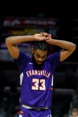 Evansville's K.J. Riley (33) reacts to a 58-55 loss to the Valparaiso Crusaders in the first round of the Missouri Valley Conference Tournament at the Enterprise Center in St. Louis, Ill., Thursday, March 5, 2020. He missed a free-throw that would have tied up the game with less than a minute left.