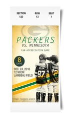 Green Bay Packers ticket for Fan Appreciation Game in 2016