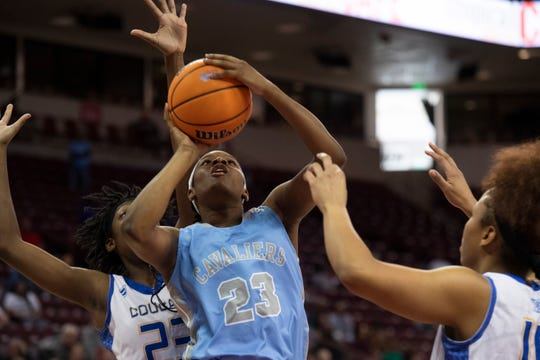 Christ Church Episcopal's Yasmene Clark (23) scores a basket during the Class AA state championship against North Charleston held at Colonial Life Arena in Columbia Friday, Mar. 6, 2020.