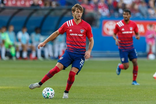 Feb 29, 2020; Frisco, TX USA; FC Dallas midfielder Tanner Tessmann (15) looks to make a pass during the first half against the Philadelphia Union at Toyota Stadium.
