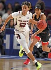 South Carolina's Tyasha Harris (52) pushes the break. South Carolina plays Georgia as the SEC Women's Basketball Tournament continues at Bon Secours Wellness Arena in Greenville Friday, March 6, 2020.GWINN DAVIS / MEDIA