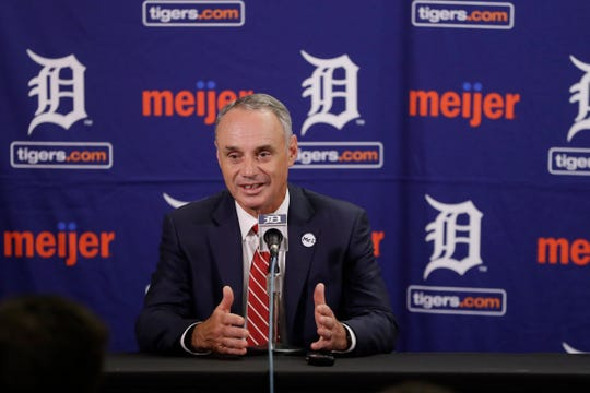 Major League Baseball Commissioner Robert D. Manfred addresses the media on the state of baseball in 2017.