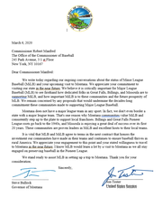 Above is a copy of the letter to Robert Manfred.