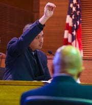 Guam Police Department Detective Eric Mondia of the Criminal Investigation Division, describes the body position of 15-year-old Timicca Nauta during his testimony in the murder trial of Brandon Acosta at the Superior Court of Guam on March 6, 2020. Acosta is on trial for the teen's death, after she was found lifeless by her grandmother, in June 2018.