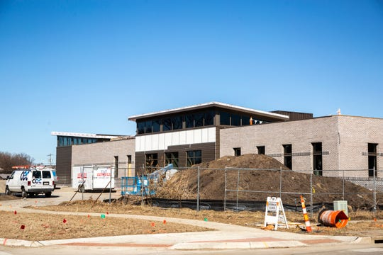 Construction continues on a new police station, Friday, March 6, 2020, at 340 N. Main Street in North Liberty, Iowa.