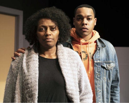 """New Stage Theatre's """"Pipeline"""" stars Sharon Miles as Nya (left) and Devin Hunter as Omari (right)."""