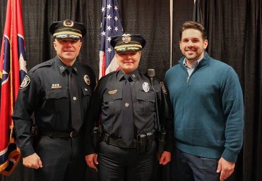 Jackie Benton, Jackson Police Department's first female captain, was promoted to the position Thursday. The position, ranked above sergeant and lieutenant, is chosen at the discretion of Jackson police Chief Julian Wiser and Mayor Scott Conger.