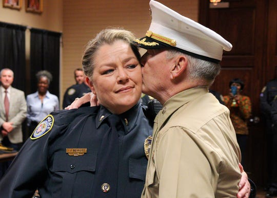 Jackie Benton made history when she become Jackson Police Department's first female captain. Her dad Jimmy Davis pinned her Thursday.