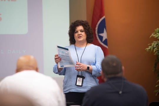 Kim Tedford, RN, Regional Director of Madison County Health Department share information to the local leaders about what Cornavirus is, Friday, March 6, 2020 in Jackson, Tenn. at Jackson- Madison County Regional Health Department to inform the community of the county's Coronavirus plan after the first case was detected in Tennessee.