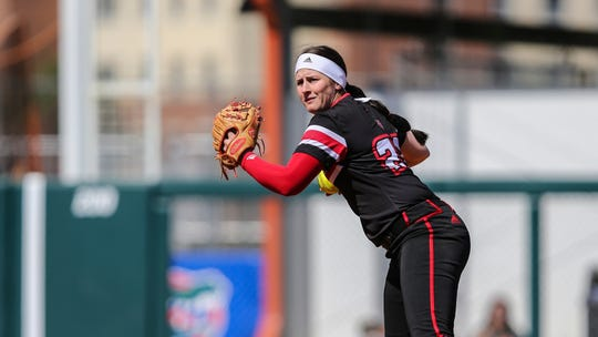 Louisiana shortstop Alissa Dalton (22) during an NCAA softball game against Florida on Saturday, Feb. 29, 2020 in Gainesville, Fla. (AP Photo/Gary McCullough)