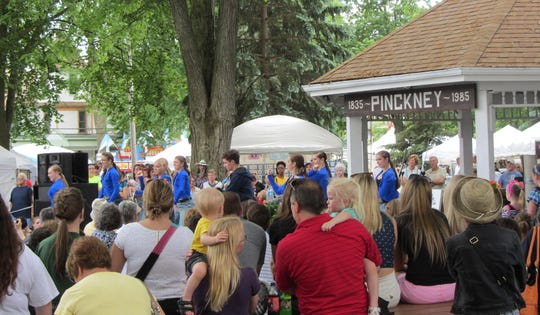 Putnam Township Square in Pinckney could be the site of new food truck rallies this summer, pending approval from village officials. The park is pictured during an Art in the Park event.