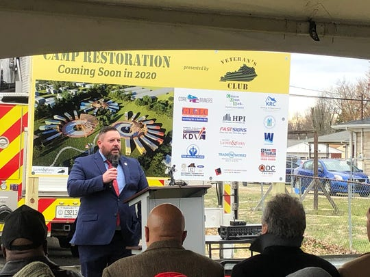 Jeremy Harrell, the founder of Veteran's Club Kentucky, speaks at the Camp Restoration ceremonial launch on Friday, March 6