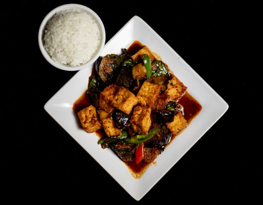 The Basil Eggplant Stir Fry Entree at Sala Thai at 8125 Bardstown Rd. March 4, 2020