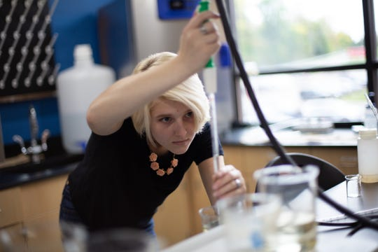 A student works in the state-of-the-art science lab at the UW-Green Bay, Manitowoc Campus.