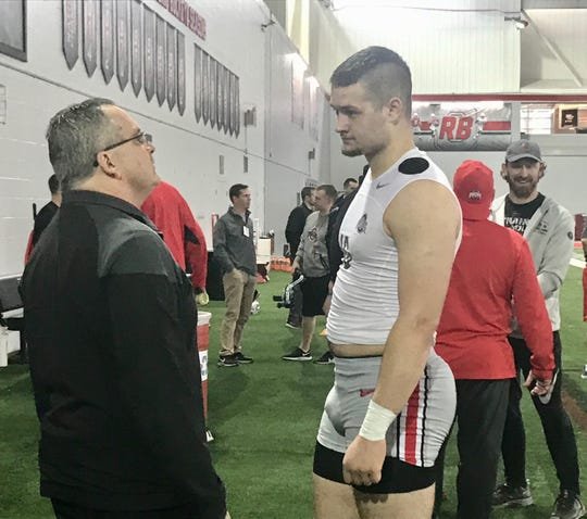 Lexington grad Cade Stover after practice Wednesday inside the Woody Hayes Athletic Facility