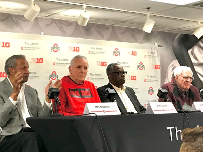 Members of the 1960 Ohio State men's basketball national championship team, from left, Mel Nowell, Jerry Lucas, Joe Roberts and Dick Furry meet with the media before being honored during Thursday's Illinois at Ohio State game in the Schottenstein Center.