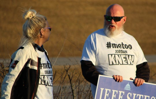 "People wore t-shirts with the phrase ""#MeToo Jordan Knew"" during a protest held Thursday, March 5 outside the Marion County Republican Party Harding Day Dinner in Waldo, where Rep. Jim Jordan was a speaker."