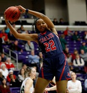 Brentwood Academy's Savannah Dews (22) pulls down a rebound Friday, March 6, 2020, during the TSSAA Division II State Basketball Championship semifinal against Briarcrest at Lipscomb University's Allen Arena in Nashville.