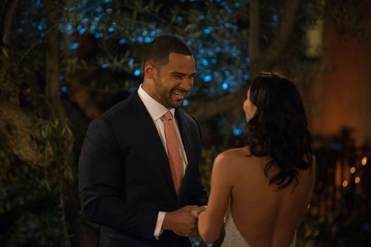 """Clay Harbor, shown during his stint on """"The Bachelorette"""" in 2018, is the one being pursued in """"The Bachelor Live on Stage"""" Sunday at the Riverside Theater."""