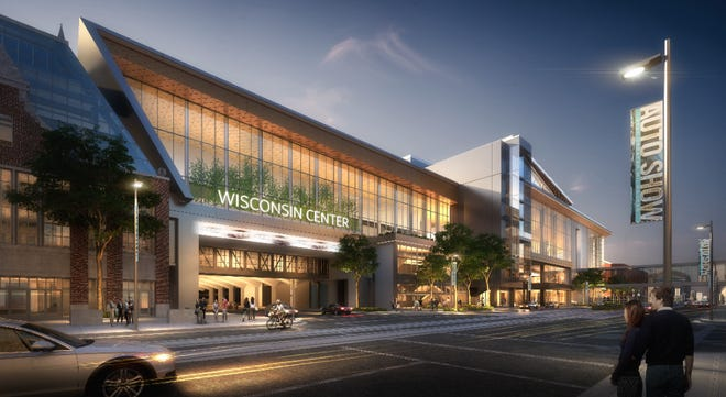 The proposed expansion of the Wisconsin Center convention facility could cost up to $425 million. This view is looking north from West Wells Street along North Phillips Avenue, with the addition to the right.