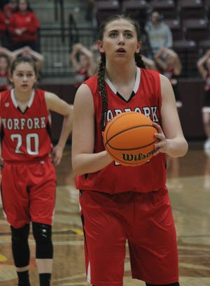 Norfork's Kynzie Rangel eyes a free throw during the Lady Panthers' season-ending loss to Kirby on Thursday night.