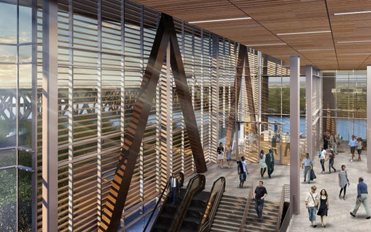 An architectural rendering of the interior of the proposed Monroe Event Center.