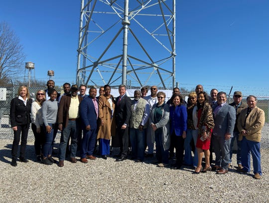 Representatives from AT&T and the FirstNet Authority, East Carroll Parish public safety officials, State Sen. Katrina Jackson, State Rep.Travis Johnson and Lake Providence Mayor Jerry Bell attended a ribbon cutting for a new FirstNet cell site on Friday in Lake Providence.