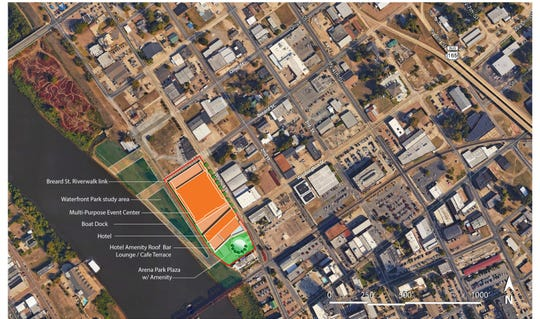 An aerial of the layout of the proposed Monroe Event Center.