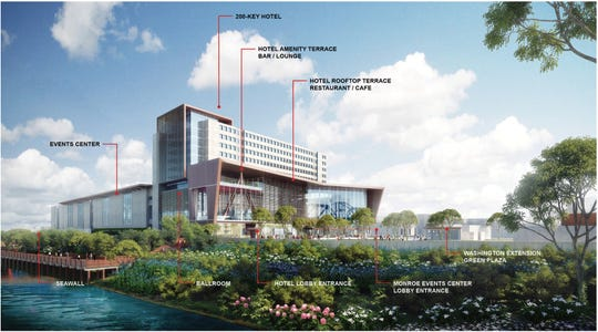 An architectural rendering of the proposed Monroe Event Center.